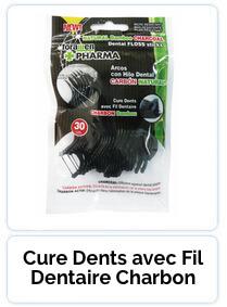 Cure Dents avec Fil Dentaire Charbon Bambou